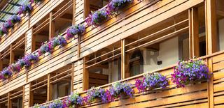 Flowers on Chalet balcony