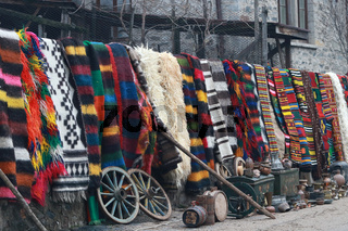 Colorful rug in the Rhodope village of Shiroka Luka, Bulgaria