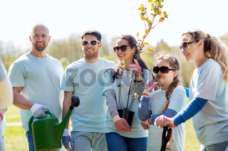 group of volunteers with trees and rake in park