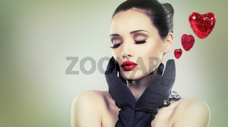 beautiful glamour woman with black gloves