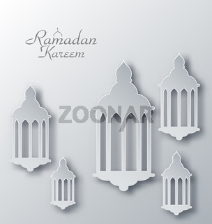 Paper Arabic Lamps with Shadows for Ramadan Kareem