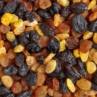 Mixed raisins close up