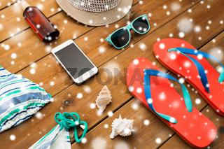 smartphone and beach stuff