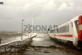 Sommerflut am Bahnhof Dagebüll Mole