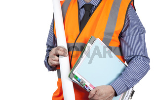 Building Surveyor in orange visibility vest carrying folders and drawings