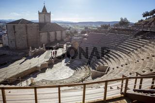 Visiting the Roman theatre of Medellin, Spain