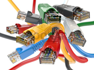 Computer network LAN cables rj45 of different colors.  Imternet connections choice concept.