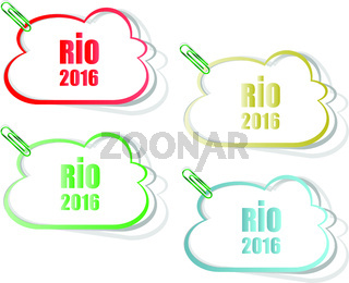 Stickers set. Sign symbol Rio olympics games 2016 in colors of the Brazilian flag. Brazil Carnival. Vector illustration