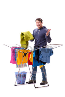 Husband man doing laundry isolated on white