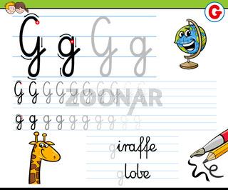 how to write letter G worksheet for kids