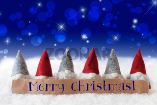 Gnomes, Blue Background, Bokeh, Stars, Text Merry Christmas