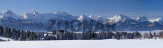 Panorama Landschaft in Bayern im Winter