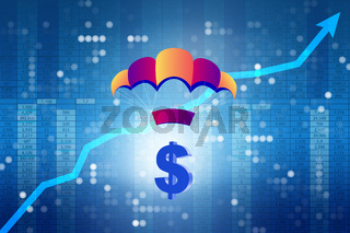 Concept with dollar in golden parachute illustration