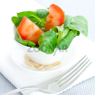 Feldsalat mit Tomate und Pinienkernen / lambs lettuce with tomato and pine nuts