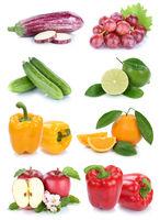 Obst und Gemüse Früchte Farben frische Collage Freisteller freigestellt isoliert
