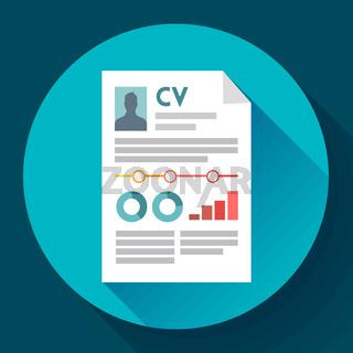 CV resume icon. Modern flat 2.0 style