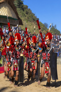 Yimchunger Tribe men performing at Horbnill Festival, Kisama, Nagaland