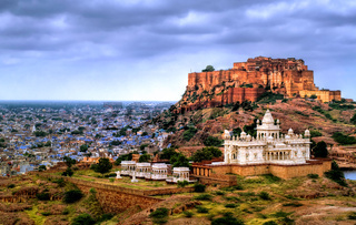 Mehrangharh Fort and Jaswant Thada mausoleum in Jodhpur, Rajasthan, India