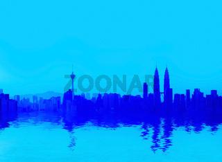 Kuala Lumpur panorama reflection