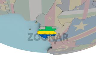 Gabon with flag on globe