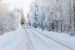Winter road in a woodland with snow and frost