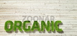 organic made of grass on white wood background