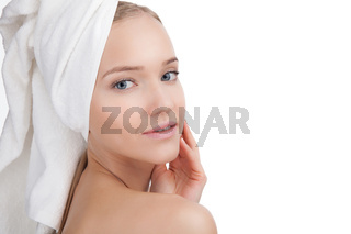 Beauty Woman face Portrait in a towel. Skin Care Concept Isolated on white background
