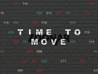 Time concept: Time to Move on wall background