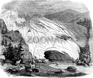 Glaciers, vintage engraving.