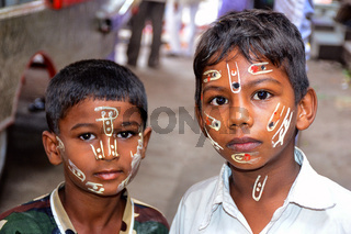 Boys with painted faces, Palki festival, Pune , Maharashtra