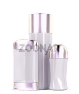 Set of female deodorants on white background