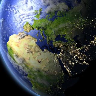 EMEA region from space