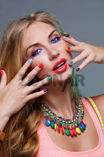 Girl with bright colorful makeup