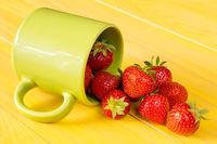 Fresh and tasty strawberries in a mug