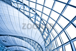 Abstract blue wall interior background