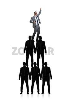 Pyramid of businessmen in business concept