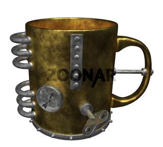 kaffeetasse im steampunk-look - 3d illustration