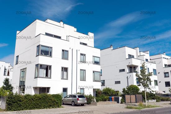 Modern white twin houses seen in Berlin, Germany