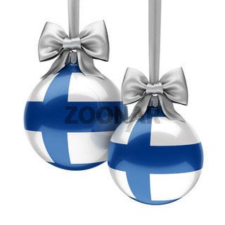 3D rendering Christmas ball with the flag of Finland