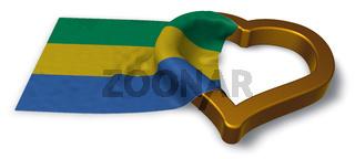 flagge von gabun und herz symbol - 3d illustration