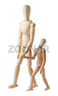 Two mannequins walk