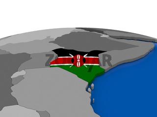 Kenya on 3D globe