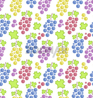 Seamless Pattern with Colorful Bunches of Grape