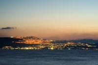 Lake Kinneret on the Sunset and the lights of Tiberias