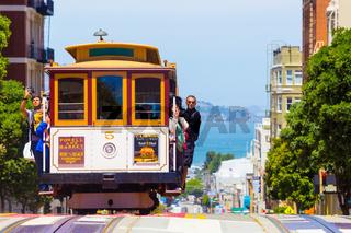 San Francisco Bay Coming Cable Car Front Close H