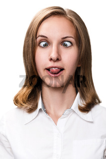 Young woman showing grimace