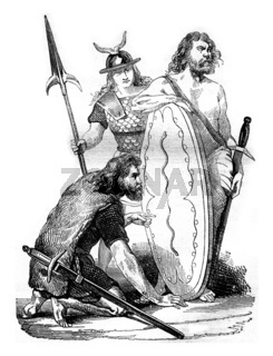 Gallic soldiers, before the Roman domination, vintage engraving.