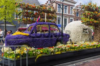 HAARLEM NETHERLANDS - APRIL 23, 2017: Statue made of tulips at flowers parade on April 23, 2017 in Haarlem Netherlands