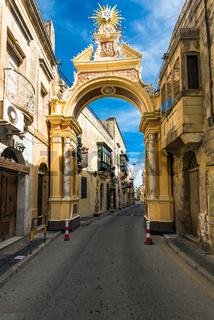 Street of ancient town Rabat in Malta
