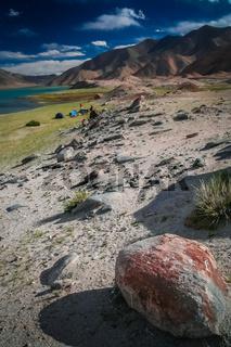 Camping at Kara Kul lake